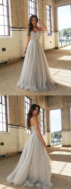 A line Spaghetti Straps Prom Dress,Sexy Silver Tulle Graduation Dress,Beaded Tulle Evening Dress