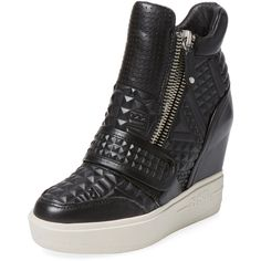 Ash Action Wedge Hi Top ($189) ❤ liked on Polyvore featuring shoes, sneakers, black, wedge heel sneakers, wedge sneakers, high top platform sneakers, hi top wedge sneakers and black high top sneakers