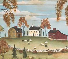 Primitive Painting, Primitive Folk Art, Primitive Decor, Mural Painting, Tole Painting, Landscape Quilts, Landscape Paintings, Painted Rug, Country Paintings