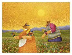 Picking Wildflowers Art Print by Lowell Herrero at Art.com