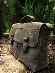 Leather messenger bag. Leather briefcase. Mens satchel. Crossbody bag.  Khaki messenger. FREE SHIPPING 13