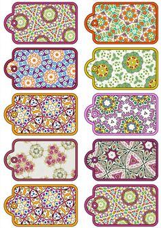 ArtbyJean - Paper Crafts: Set of ten Scrapbooking Tags on a Digital Collage Sheet. Printable Labels, Printable Paper, Card Tags, Gift Tags, Faire Un Album Photo, Creation Bougie, Bridal Shower Scrapbook, How To Make A Paper Bag, Etiquette Vintage