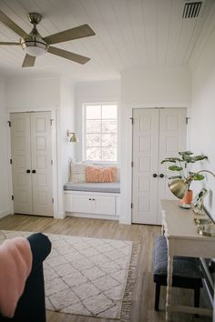 To give both kids their own closets, flank a window and install a window seat for charm. Coastal Farmhouse, Farmhouse Homes, Modern Farmhouse, Modern Country, Closet Bedroom, Master Bedroom, Remodled Bathrooms, Restroom Remodel, Shower Remodel