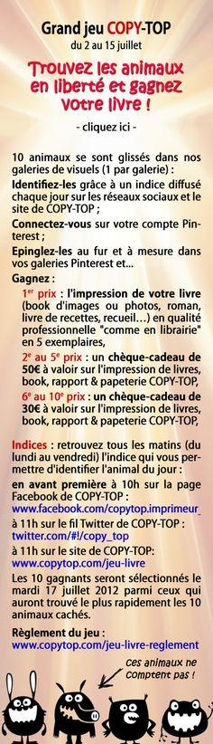 """Grand jeu COPY-TOP sur Pinterest """"Trouvez les animaux en liberté et gagnez votre livre !"""""""