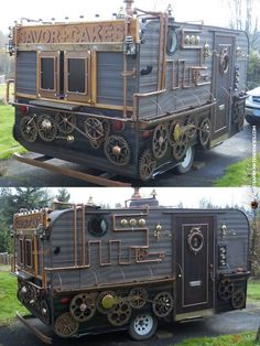 steampunk food caravan ArtisanCakeCompany but I think. Steampunk Traveling Home ! Steampunk Crafts, Steampunk Gadgets, Steampunk House, Steampunk Design, Steampunk Fashion, Steampunk Wedding, Steampunk Bedroom, Steampunk Furniture, Steampunk Men