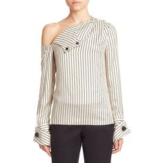 Monse Pinstripe Silk Cold-Shoulder Blouse ($1,250) ❤ liked on Polyvore featuring tops, blouses, apparel & accessories, ivory black, cold shoulder tops, sweater pullover, oversized blouse, silk top and ivory silk blouse