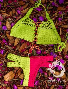 Crochet Bikini Cowrie Shell Crochet swimsuit by DevoceanSwimwear