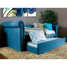 Venetian Worldwide Leanna Dark Teal Trundle Daybed-V-CM1027TL - The Home Depot