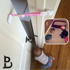 Don't let your little exploring baby get into the cat supplies. Use Door Buddy® which lets cats in and keeps babies out.