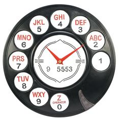 "ROTARY PHONE DIAL WALL CLOCK $7.98 EXCLUSIVE! Look familiar This clever wall clock has the same dimensional face as an old rotary dial phone. Hand painted, ready to hang. Poly-resin, battery (1 AA not included) operated quartz movement. 11"" dia."