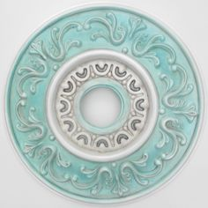 South Beach ceiling medallion hand painted & distressed in aqua, pearl white and cocoa brown for a fan or chandelier.. $70.00, via Etsy.