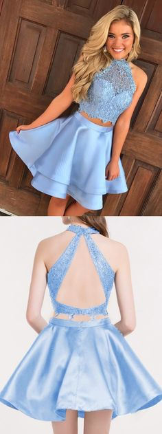 Two Piece Homecoming Dress, Open Back Short Prom Dress, Blue Halter Party Cocktail Dress with Lace