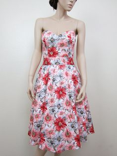 Vintage inspired dress strapless bridesmaid dress cotton sateen printed flower via Etsy