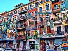 Colourful row of buildings in Friedrichshain, Berlin, Germany.