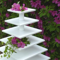 making cupcake stands | Sturdy Wood Cupcake Display Tower 7 Tier Square by OhSoSweetStands