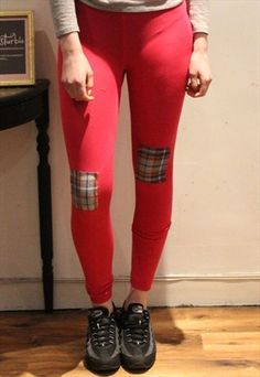 Hot+Pink+Leggings+tartan+Knee+Patch+Alternative+handmade Women's Leggings, Tartan, Hot Pink, Alternative, Patches, Pretty, Pants, Handmade, Fashion