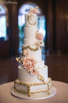 Fairytale wedding cake, storybook quote cake, gold and pink wedding cake, sugar flowers, wedding sweets, dessert, treats, wedding ideas A PINK STORYBOOK WEDDING IN TORONTO www.elegantwedding.ca