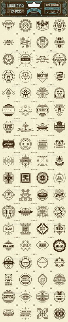 Hand Made Thin Line Badges and Logos by Sashatigar 84 vector logotypes. All text converted to curves.Perfect for packaging, labels, stickers, web-design.All objects grouped. Graphisches Design, Badge Design, Vintage Logo Design, Retro Design, Logo Vintage, Typo Logo, Logo Branding, Beste Logos, Logo Luxury