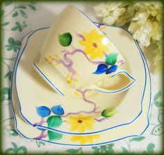 For your Easter teatime treats! Art Deco Staffordshire Trio NewHall Handpainted Easter by keepsies, £20.00