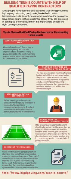 Building Tennis Courts with help of Qualified Paving Contractors #Infographics