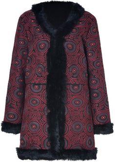 ShopStyle: Antik Batik Black/Burgundy Embroidered Coat with Fur Trim