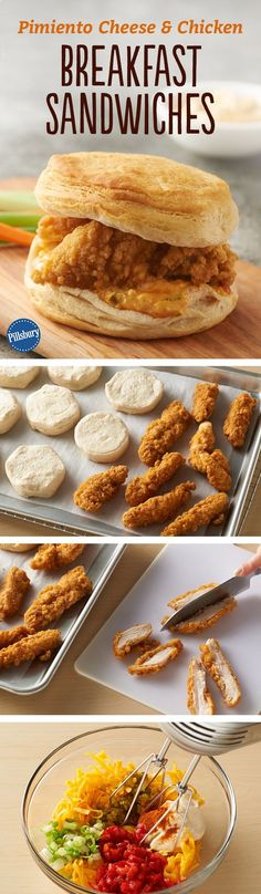 Crispy chicken and pimiento cheese collide for a breakfast sandwich that's tailor-made for our fluffy Pillsbury™ Grands!™ biscuits. Can't take the heat? Leave out the ground red pepper entirely.