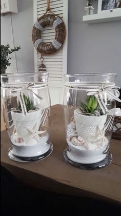 Cactus planters with sand and seashells can find Planters and more on our website.Cactus planters with sand and seashells Beach House Decor, Diy Home Decor, Room Decor, Light Chain, Hurricane Lamps, Diy Décoration, Beach Crafts, Sea Shells, Sweet Home