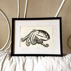 Octopus hand-printed linocut by mmennitt on Etsy.