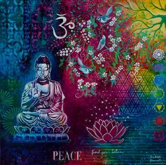 The Buddhas Garden 2 - Serendipity Workshop Buddha Painting, Buddha Art, Meditation Symbols, Sacred Symbols, India Art, Large Painting, Mixed Media Art, Modern Art, Art Projects