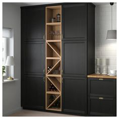 VADHOLMA Range-bouteilles, brun, frêne teinté - IKEA - Expolore the best and the special ideas about Modern kitchen design Wine Shelves, Wine Storage, Tall Cabinet Storage, Towel Storage, Home Decor Kitchen, Kitchen Interior, Home Kitchens, Decorating Kitchen, Kitchen Ideas