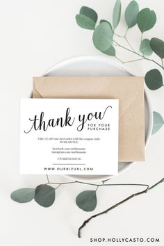 Printable Business Thank You Packaging Cards by HollyCastoDesign