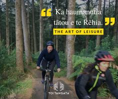 """Ka haumanutia tātou e te Rēhia. The art of leisure. Our team is lucky enough to be able to experience some serious adventures together like getting together in Rotorua and giving the Redwoods Whakarewarewa Forest Bike trails a crack. This forest boasts some of the oldest trails in the country with trails for beginners, intermediate, and advanced riders. Our kaimahi Ora shows us the meaning of """"Ka haumanutia tātou e te Rēhia,"""" being swept away by the pursuit of joy and fun. Swept Away, Bike Trails, Old Things, Joy, Adventure, Country, Maori, Rural Area, Glee"""