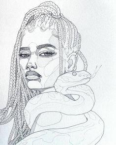 Lavender albino python by Polina Bright Cool Art Drawings, Pencil Art Drawings, Art Drawings Sketches, Sketch Art, Easy Drawings, Drawing Art, Arte Sketchbook, Bright Art, Anime Artwork