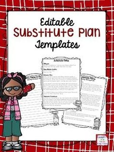 FREE editable substitute plan templates! Cute and practical!