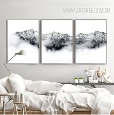 Snow Mountains Style Black and White Pictures Bedroom Canvas, Bedroom Art, Black And White Wall Art, White Walls, Art Wall Kids, Large Wall Art, 3 Piece Canvas Art, 3 Piece Art, Buy Canvas