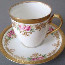 Porcelana Limoges Antiga Xícara E Pires Rosas Rosa w Decorações de marrã incrustada