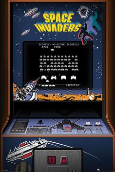 'Space Invaders' arcade game. Back in the day, we actually had to leave our homes and go to an arcade to play video games. More