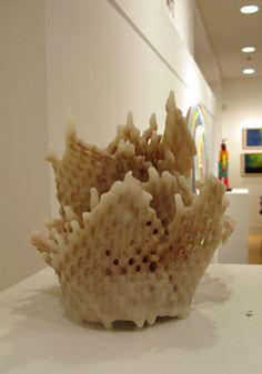 Dawn Korman's paper and encaustic sculpture