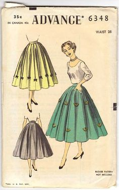 50s Gored Skirt Pattern Advance 6348 Vintage 8 Gore Skirt Waist Size 28 Unused. $12.00, via Etsy.