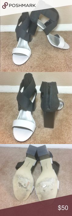 TAHARI TAHARI light gray and black strap sandals with 3.5 inch chunky heel. Chic and comfortable. Have only used them on two separate occasions. Zips from the back. Size 7 1/2 M!  Clean and good condition. If you have any questions, please let me know! Tahari Shoes