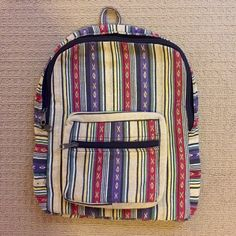 """Navajo Cloth Backpack Two compartments....one main zipper and then the zipper pocket on the front! Adjustable straps. Approximately 16"""" by 12"""" Vintage Bags Backpacks"""