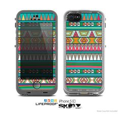 The Tribal Vector Green & Pink Abstract Pattern V3 by TheSkinDudes