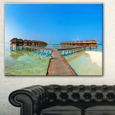 "DesignArt 'Bungalows in Maldives Island' Photographic Print on Wrapped Canvas Size: 30"" H x 40"" W x 1"" D"
