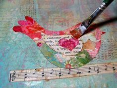 Collage bird art journal page ---- this blog has a lot of great ideas for mixed media!