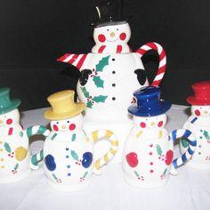 Ceramic Snowman Pitcher 4 Mug Set home & living by shoponwebstreet