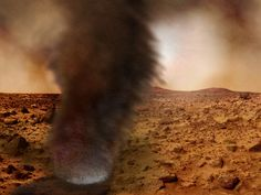 Amazing Dust Storm on Mars - Scientists recently were amazed at the photos of the dust devils from Mars shown. The photos were captured by the Mars Reconnaissance Orbiter that has been sending photos of Mars to astronomers here on Earth. The dust devil shown in the photo was 100 feet wide. The dust devils will be a major problem if astronauts are to visit Mars. The dust devils can be up to 10 times larger than earth tornados and rotate at 70 miles an hour.