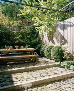 Stone terraced steps & outdoor area.