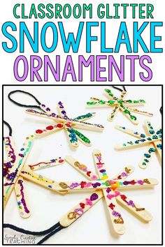Looking for easy Christmas ornaments for your students to make? These simple popsicle stick snowflake ornaments are easy, fun, and cute! Make them in your kindergarten, first grade, or 2nd grade classroom during your class holiday party. They are a great craft center to use at your Christmas party!