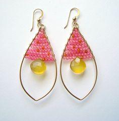 Pink Yellow Hoop Earrings, Carnelian, Pink Quartz, Butterscotch Yellow Chalcedony, Gold Filled Hoops, Marquise Hoop Earrings