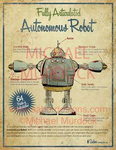 Robot rétro Art impression 11 x 14